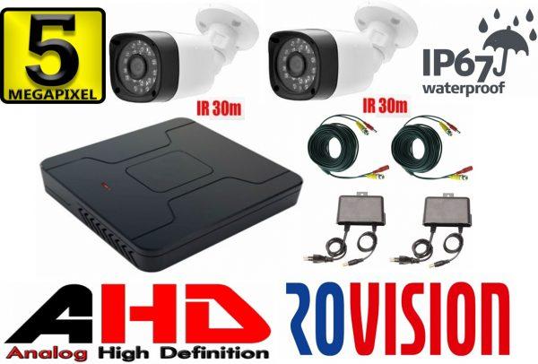 Sistem supraveghere video profesional cu 2 camere Rovision de 5MP cu IR30m , DVR 4 canale, cu accesorii incluse