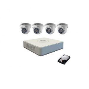 Kit pentru supraveghere Hikvision Turbo HD 720P cu 4 camere DOME IR20m, Hard Disk 500 Gb refurbished