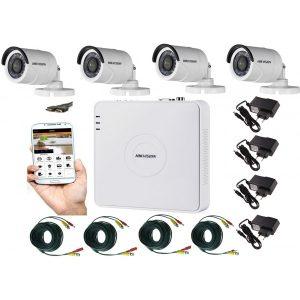 Kit supraveghere video 4 camere Hikvision exterior 20m IR, accesorii incluse, soft telefon mobil , CABLU HDMI CADOU