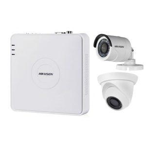 Kit supraveghere video mixt 2 camere, 1 Hikvision exterior IR20m si 1 interior Rovisioni IR20m, DVR 4 canale Hikvision
