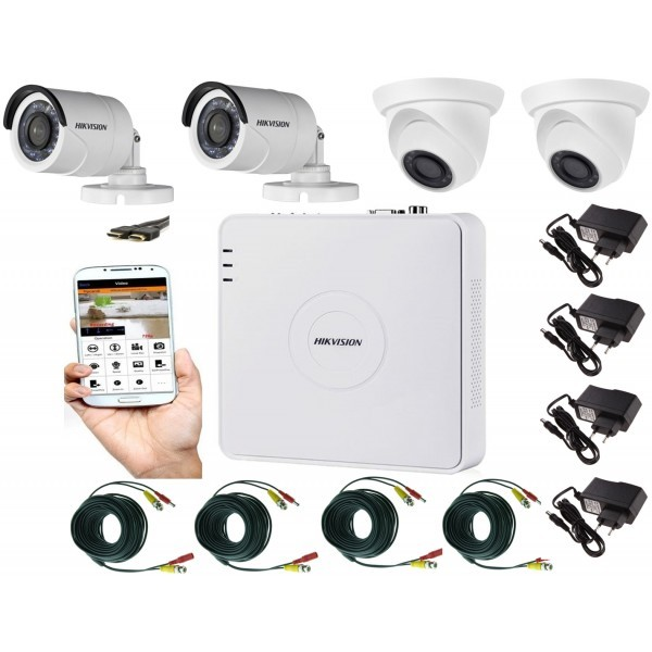 Kit supraveghere video mixt 4 camere 2 Hikvision exterior 20m IR si 2 interior Rovision, accesorii incluse