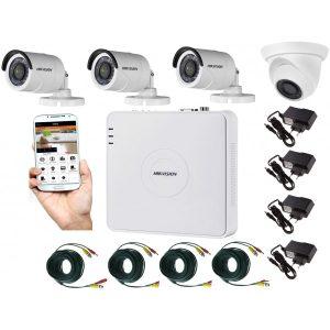 Kit supraveghere video mixt 4 camere, 3 Hikvision exterior IR20m si 1 interior Rovision IR20m, accesorii incluse