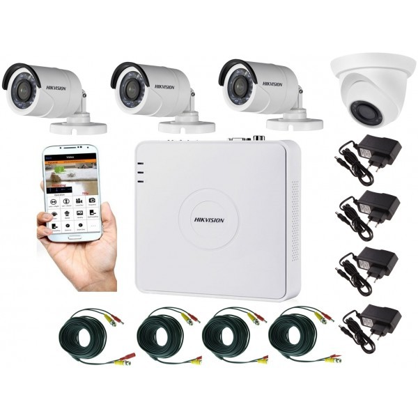 Kit supraveghere video mixt 4 camere, 3 Hikvision exterior IR20m si 1 interior Rovision IR20m, accesorii incluse