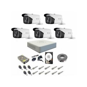 Sistem supraveghere complet 5 camere Hikvision Turbo Hd, 720P, IR la 40 metri, DVR Hikvision 8 canale, accesorii