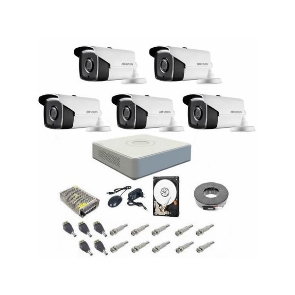 Sistem supraveghere complet 5 camere Hikvision Turbo Hd, 720P, IR la 40 metri, DVR Hikvision 8 canale, accesorii