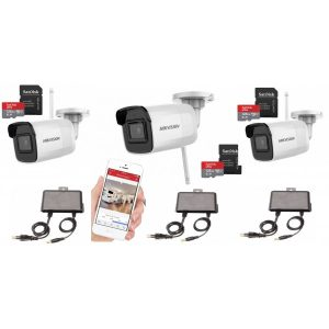 Sistem supraveghere Hikvision Wireless 3 camere 4MP cu IR 30m, microfon, card 128GB,sursa alimentare
