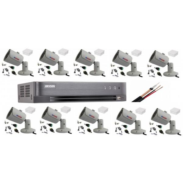 Sistem supraveghere profesional video cu 10 camere 8MP 4K Rovision cu IR25m DVR Hikvision toate accesoriile, live internet