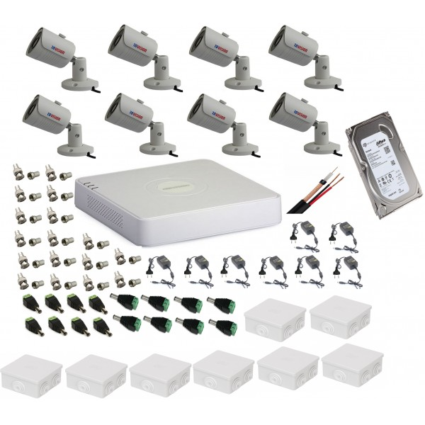Sistem supraveghere ultraprofesional tehnologie 4k cu 8 camere 8MP Rovision cu IR25m, DVR Hikvision, accesorii incluse, HDD 1TB