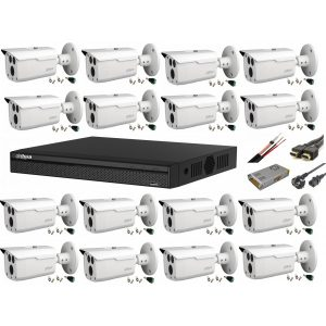 Sistem supraveghere video Full HD cu 16 camere Dahua 2MP HDCVI IR 80m, cu toate accesoriile, live internet