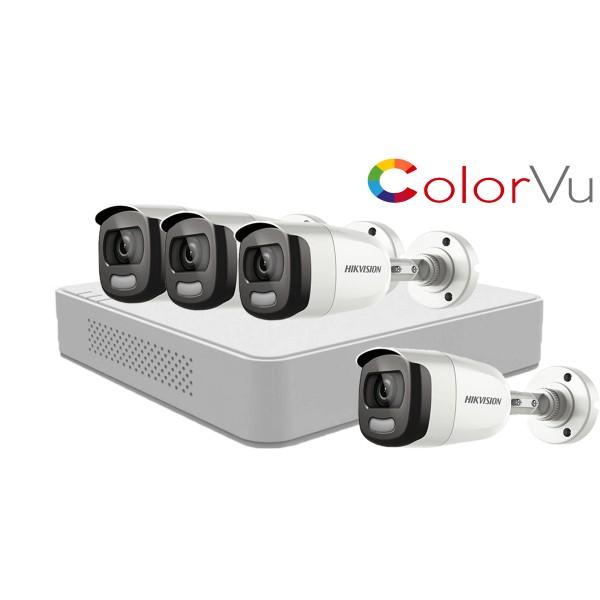 Sistem supraveghere video Hikvision 4 camere 2MP ColorVU FullTime FULL HD