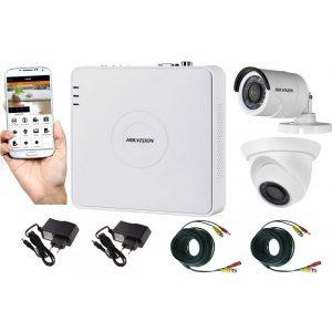 Sistem supraveghere video mixt 2 camere, 1 Hikvision exterior IR20m si 1 interior Rovision IR20m, accesorii incluse