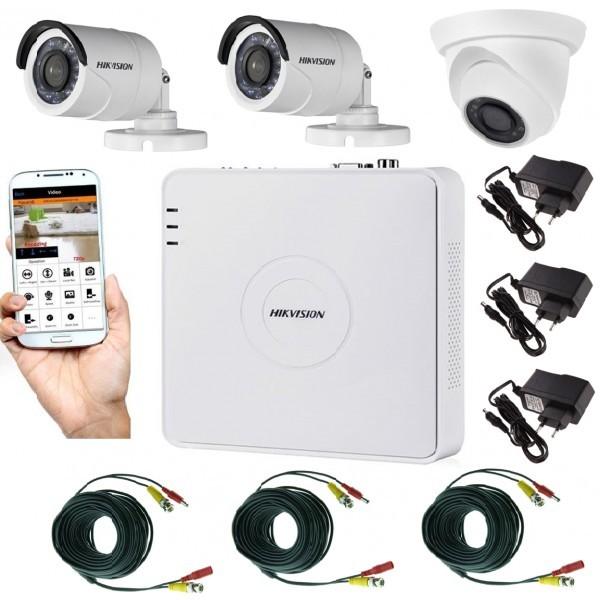 Sistem supraveghere video mixt 3 camere, 2 Hikvision exterior IR20m si 1 interior Rovision IR20m, accesorii incluse