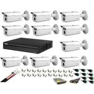 Sistem supraveghere video profesional cu 10 camere Dahua 2MP HDCVI IR 80m ,full accesorii , cablu coaxial ,live internet
