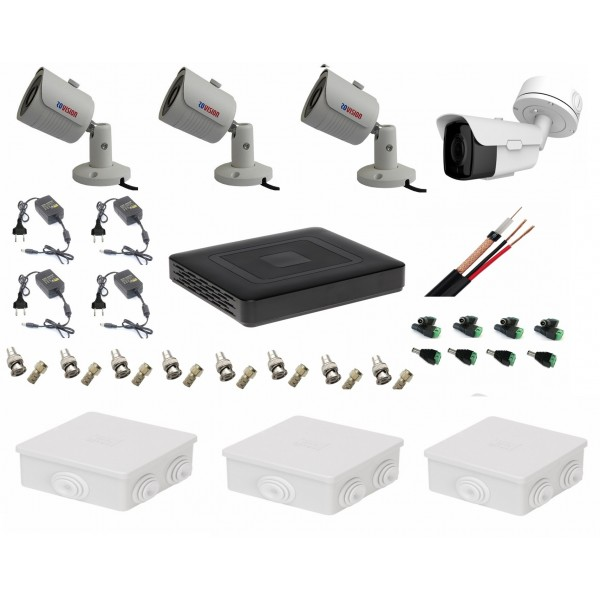 Sistem supraveghere video tehnologie 4k cu 1 camera 8MP Rovision cu IR60m si 3 cu IR25m, toate accesoriile, live internet