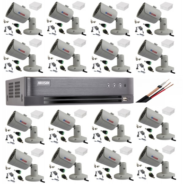 Sistem supraveghere video tehnologie 4k cu 16 camere 8MP Rovision cu IR25m, DVR Hikvision toate accesoriile live internet