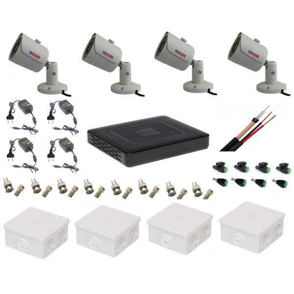 Sistem supraveghere video ultraprofesional tehnologie 4k cu 4 camere 8MP Rovision cu IR25m , toate accesoriile, live internet