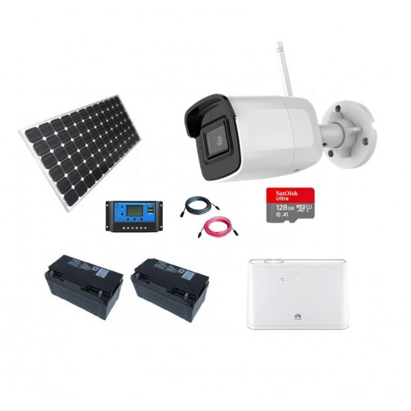 Kit supraveghere format din solar fotovoltaic 150W, router 4G si Camera supraveghere video 5Mpx