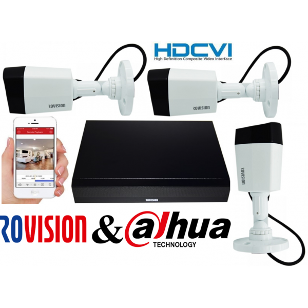 Sistem supraveghere 3 camere Rovision 5MP HDCVI , DVR 4 canale 5MP