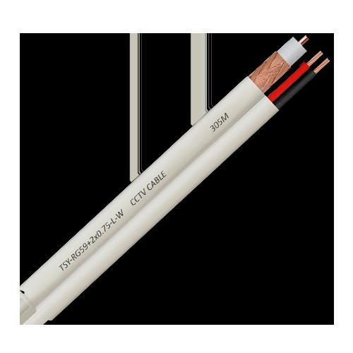 Cablu coaxial RG59 + alimentare 2x0.75'100m'alb TSY-RG59+2X0.75-L-W