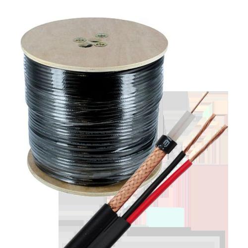 Cablu coaxial RG59 + alimentare 2x0.75'305m'negru TSY-RG59+2X0.75-B