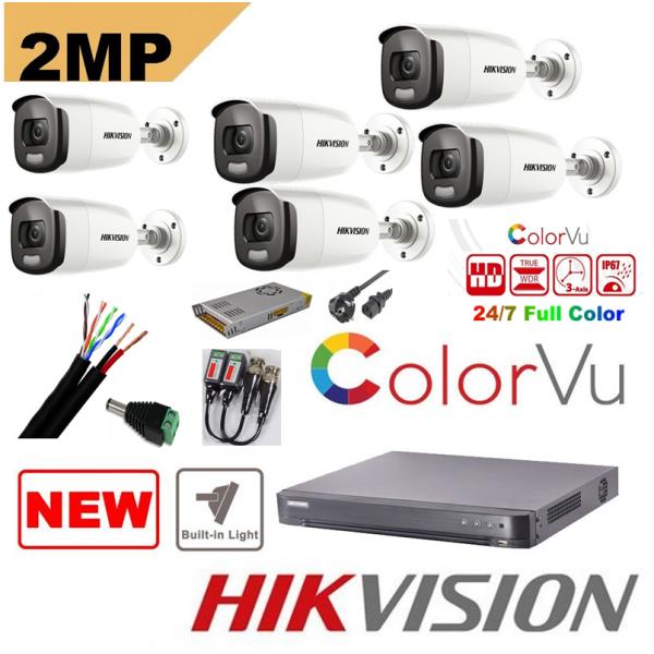 Sistem supraveghere 6 camere Hikvision 2mp Color Vu cu IR 40m (color noapte ) , DVR 8 canale